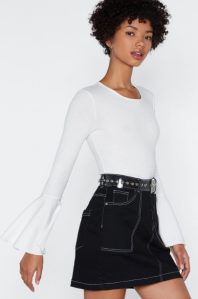 Nasty Gal Ribbed Flare Sleeve Top